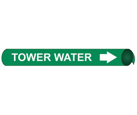 Tower Water And Strap On White On Green Pipe marker Label - Precoiled and Strap on Pipe Marker Tower Water, White text on Green
