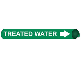 Treated Water Precoiled And Strap On Pipe marker - Precoiled and Strap on Pipe Marker Treated Water, White text on Green