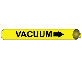 Precoiled And Strap On Pipe marker Label For Vacuum - Precoiled and Strap on Pipe Marker Vacuum, Black text on Yellow