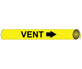Precoiled And Strap On Pipe marker Label For Vent - Precoiled and Strap on Pipe Marker Vent, Black text on Yellow