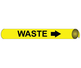 Precoiled Pipe marker Label For Waste - Precoiled and Strap on Pipe Marker Waste, Black text on Yellow
