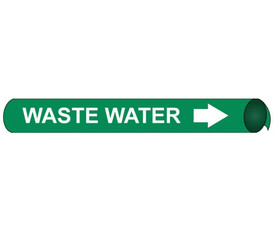 Precoiled And Strap On Pipe marker Label Waste Water - Precoiled and Strap on Pipe Marker Waste Water, White text on Green