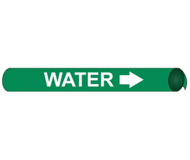 Precoiled And Strap On Pipe marker Label For Water - Precoiled and Strap on Pipe Marker Water, White text on Green