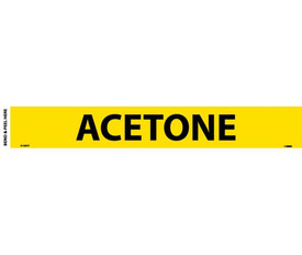 Acetone Pressure Sensitive Pipe marker Label - Pressure Sensitive Pipe Marker Labeled Acetone, Black text on Yellow