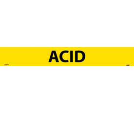 Acid Pressure Sensitive Pipe marker Label - Pressure Sensitive Pipe Marker Labeled Acid with Black text on Yellow