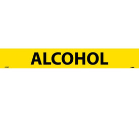 Alcohol Pressure Sensitive Pipe marker Label - Pressure Sensitive Pipe Marker Labeled Alcohol, Black text on Yellow