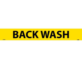 Back Wash PS Vinyl Pipe marker Label - Pressure Sensitive Pipe Marker Labeled Back Wash, Black text on Yellow
