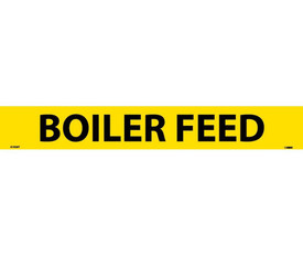 Boiler Feed Pressure Sensitive Pipe marker Label - Pressure Sensitive Pipe Marker Labeled Boiler Feed, Yellow text on Black