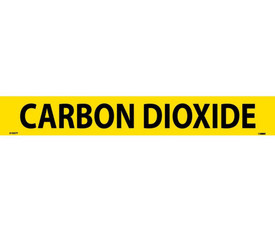 Carbon Dioxide Pressure Sensitive Pipe marker Label - Pressure Sensitive Pipe Marker Carbon Dioxide, Black text on Yellow