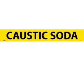 Caustic Soda PS Vinyl Pipe marker Label - Pressure Sensitive Pipe Marker Caustic Soda, Black text on Yellow