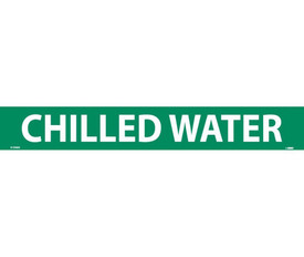Pressure Sensitive Pipe marker Label For Chilled Water - Pressure Sensitive Pipe Marker Chilled Water, White text on Green