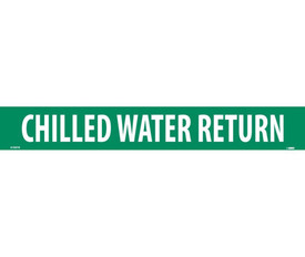 Pressure Sensitive Pipe marker Label Chilled Water Return - Pressure Sensitive Pipe Marker Chilled Water Return, White text on Green