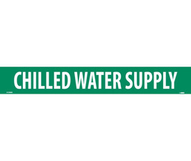Chilled Water Supply PS Vinyl Pipe Marker Label - Pressure Sensitive Pipe Marker Chilled Water Supply, White text on Green