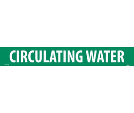 Circulating Water PS Vinyl Pipe Marker Label - Pressure Sensitive Pipe Marker Circulating Water, White text on Green