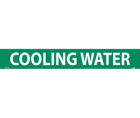 Water PS Vinyl Pipe Marker Label - Vinyl Pipe Marker Labeled Cooling Water, White text on Green