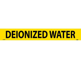 Vinyl Pipe Marker Labeled Deionized Water - Vinyl Pipe Marker Labeled Directional Water, Black text on Yellow