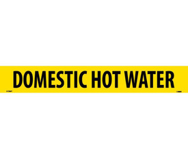 Domestic Hot Water PS Vinyl Pipe marker Label - Vinyl Pipe Marker Labeled Domestic Hot Water, Black text on Yellow