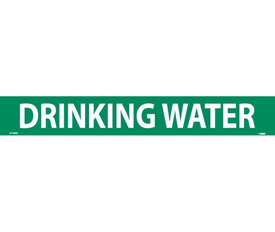 Drinking Water PS Vinyl Pipe marker Label - Vinyl Pipe Marker Labeled Drinking Water, White text on Green