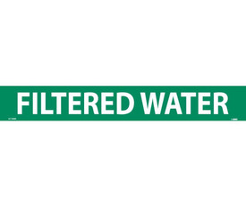 Filtered Water Pressure Sensitive Vinyl Pipe Marker - Vinyl Pipe Marker Labeled Filtered Water, White text on Green