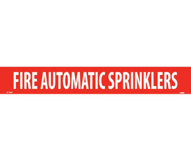 Fire Automatic Sprinklers Vinyl Pipe Marker Label - Vinyl Pipe Marker Labeled Fire Automatic Sprinklers, White text on Red