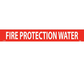 Fire Protection Water PS Vinyl Pipe Marker Label - Vinyl Pipe Marker Labeled Fire Protection Water, White text on Red