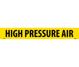 PS Vinyl Pipe Marker Labeled High Pressure Air - Vinyl Pipe Marker Labeled High Pressure Air, Black text on Yellow
