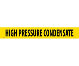 PS Vinyl Pipe Marker Labeled High Pressure Condensate - Vinyl Pipe Marker Labeled High Pressure Condensate, Black text on Yellow