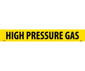 PS Vinyl Pipe Marker Labeled High Pressure Gas - Vinyl Pipe Marker Labeled High Pressure Gas, Black text on Yellow