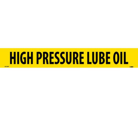 PS Vinyl Pipe Marker Labeled High Pressure Lube Oil - Vinyl Pipe Marker Labeled High Pressure Lube Oil, Black text on Yellow