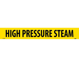 PS Vinyl Pipe Marker Labeled High Pressure Steam - Vinyl Pipe Marker Labeled High Pressure Steam, Black text on Yellow