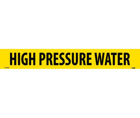 High Pressure Water PS Vinyl Pipe Marker Label - Vinyl Pipe Marker Labeled High Pressure Water, Black text on Yellow