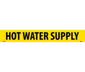 PS Vinyl Pipe marker Labeled Hot Water Supply - Vinyl Pipe Marker Labeled Hot Water Supply, Black text on Yellow