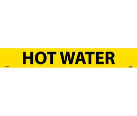 Pressure Sensitive Pipe marker Labeled Hot Water - Pressure Sensitive Pipe Marker Labeled Hot Water, Black text on Yellow