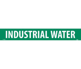 Industrial Water PS Vinyl Pipe marker Label - Vinyl Pipe Marker Labeled Industrial Water, White text on Green