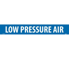 Low Pressure Air PS Vinyl Pipe Marker Label - Vinyl Pipe Marker Labeled Low Pressure Air, White text on Blue