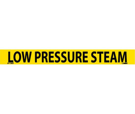 Low Pressure Steam PS Vinyl Pipe Marker Label - Vinyl Pipe Marker Labeled Low Pressure Steam, Black text on Yellow