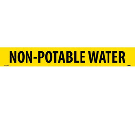 PS Vinyl Pipe marker Labeled Non-Potable Water - Vinyl Pipe Marker Labeled Non-Potable Water, Black text on Yellow