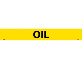 Pressure Sensitive Vinyl Pipe marker Labeled Oil - Pressure Sensitive Pipe Marker Labeled Oil, Black text on Yellow