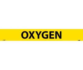 Pressure Sensitive Pipe marker Labeled Oxygen - Pressure Sensitive Pipe Marker Labeled Oxygen, Black text on Yellow