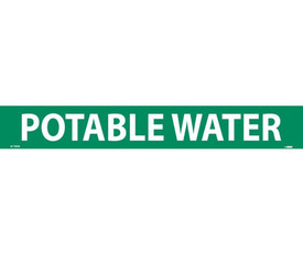 PS Vinyl Pipe marker Labeled Potable Water - Vinyl Pipe Marker Labeled Potable Water, White text on Green