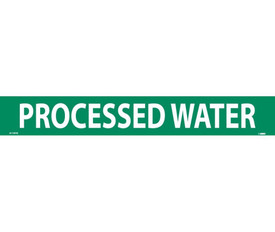 Processed Water PS Vinyl Pipe Marker Label - Vinyl Pipe Marker Labeled Processed Water, White text on Green