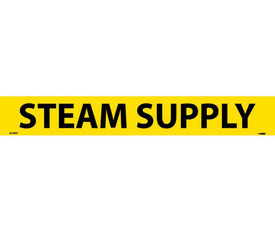 PS Vinyl Pipe Marker Labeled Steam Supply - Vinyl Pipe Marker Labeled Steam Supply, Black text on Yellow