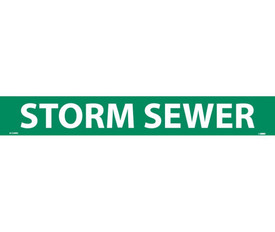 Storm Sewer Pressure Sensitive Vinyl Pipe Marker Label - Vinyl Pipe Marker Labeled Storm Sewer, White text on Green