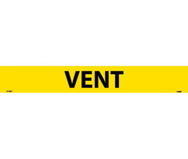 Pressure Sensitive Pipe Marker Labeled Vent - Pressure Sensitive Pipe Marker Labeled Vent, Black text on Yellow