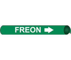 Precoiled Pipe Marker Labeled Freon - Precoiled Green Pipe Marker Labeled Freon in white text and white right arrow.