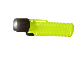UK 4AA Xenon Front Switch Confined Space  Flashlight Class 1 - 4AA black and yellow flashlight with ribbed handle - on.