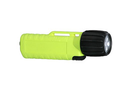 UK 3AA eLED CPO Front Switch Waterproof Flashlight - Plastic black and yellow flashlight with long ribbed handle and black switch.