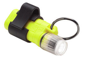 UK 2AAA Xenon Mini Pocket Light Clip On Flashlight Class 1 - yellow and clear flashlight with carrying ring and black clip.