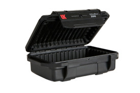UK 206 UltraBox Case Protector - Thin black padded dry box with clear top and long black plastic clip.