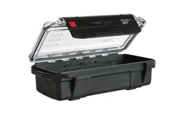 UK 207 UltraBox Case Protector - Long black dry box with clear top and long black plastic clip.
